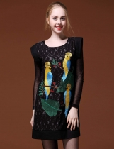 FANTIOW O-Neck Embroidery Pullover Lace Patchwork Wool Blend Vest Dress