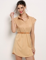 Khaki Cap Sleeve Stretch Chiffon Shirt Dress With Casual Belt