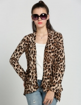 Women Leopard Blouse Casual Slim Irregular Cardigan Shirt Long Tops