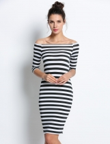 Black Half Sleeve Stripes Slim Pencil Dresses