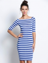Blue Half Sleeve Stripes Slim Pencil Dresses