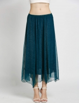 Summer Retro Full Circle Boho Gauze Chiffon Long Pleated Maxi Skirts