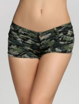 Camouflage Denim Low Waist Jeans Shorts