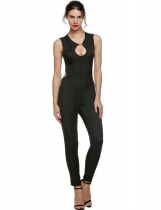 Black Sleeveless O-neck Backless Solid Full-Length Jumpsuit