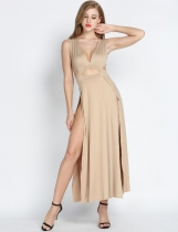 Nude Sexy Sleeveless V-neck Hollow Out Maxi Party Cocktai Dress