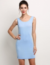 Light blue Stylish Lady Women's Fashion Sleeveless O-neck Backless Solid Mini Sexy Sundress Casual Dresses
