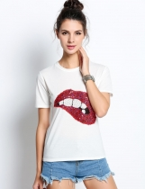 Red Fashion Ladies Women Sequin Décoration O-neck Short Sleeve Patchwork T-shirt décontracté