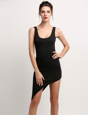 Black Stylish Backless Out Womens Dresses