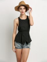 Black Pleated Hem Sleeveless O-neck Party Leisure Chiffon Tank Top