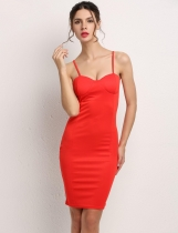 Red Spaghetti Strap Hip Package Bodycon Solid Casual Dress