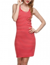 Red Sexy O-Neck Sleeveless Striped Print Mini Casual Dress