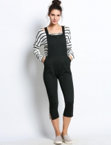 Sleeveless Elastic Waist Trouser Solid Jumpsuit