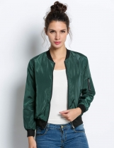 Army green New Stylish Ladies Femmes Décontracté à manches longues Front Zipper Fashion Coat Jacket