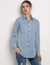Azul y Blanco Elegante señoras mujeres Turn-Down Collar Vertical Striped Casual camisa Blusa