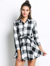 Stylish Ladies Plaid Check Belt Shirt Skater Robe Femme Lapel 3/4 Sleeve Slim Button Dress