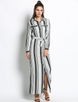 Femmes noires et blanches Maxi Side Slit Striped Long Shirt Casual Dresses