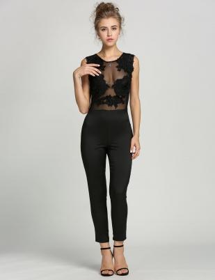 f61e8df7db2e Black Elegant Body Lace Embroidery Jumpsuit