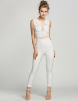 White Elegant See-through Lace Patchwork Embroidery Body Mesh Bodycon Jumpsuit