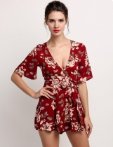 Short Sleeve Floral High Waist Back Zipper Rompers