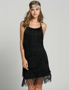 Black 1920s Straps Tassels Glam Gatsby Fringe Flapper Belted Party Dresses d6a93f83fabc
