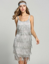 Gray 1920s Straps Tassels Glam Gatsby Fringe Flapper Belted Party Dresses