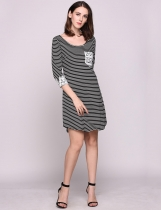 Black Lace Patchwork 3/4 Sleeve Crew Collar Stripes Tunic Casual Dress