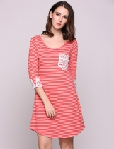 Red White Stripe Lace Patchwork 3/4 Sleeve Crew Collar Stripes Tunic Casual Dress