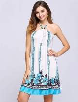 Blanco Sin mangas de cuello halter Beading Print Backless Dress