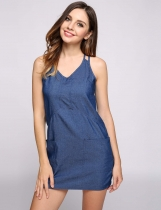 Blue Solid Front Pockets Sheath Casual Dress