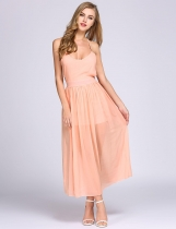 Spaghetti rose sangle solide mousseline Backless Robe a-line