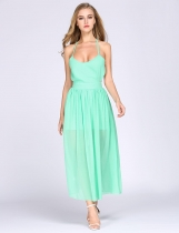 Pale Green Spaghetti Strap Solid Chiffon Backless A-Line Robe