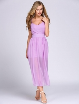 Violet Spaghetti Strap Solid Chiffon Backless A-Line Dress