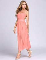 Watermelon red Spaghetti Strap Solid Chiffon Backless A-Line Dress