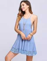 Blue Halter Collar Backless Patchwork Shift Dress
