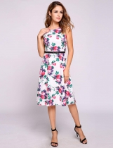 White Sleeveless Vintage Styles Floral Belted Dress