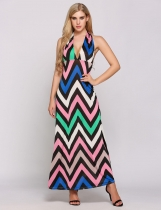 Pattern Halter Collar Backless High Waist Wave Stripes Dress