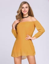 Yellow Off The Shoulder Puff manga sólido vestido de cambio