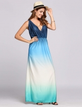 Azul Sin mangas de plumas Collar Backless Gradient Maxi Dress