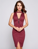 Wine red Stand Collar Choker Zipper Front Split Dress