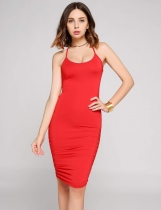 Spaghetti Strap Bandage Back Ruched Hem Dress