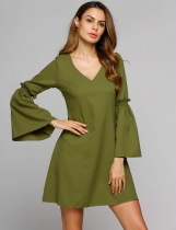 Green Bell Sleeve V Collar Casual Solid A-Line Dress