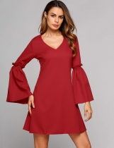 Red Bell Sleeve V Collar Casual Solid A-Line Dress