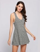 Tied Back Scoop Neck Stripes Skater Tank Dress