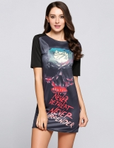 Black Skull Print Graphic Casual Tee Dress