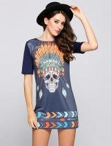 Grey Skull Print Graphic Casual Tee Dress