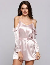 Pink Spaghetti Strap Ruffle-Trimmed Belted Dress