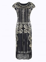 Black 1920s Style Flapper Sleeveless Sequined Fringe Trim Dresses