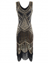 Gold 1920s Style Sleeveless Sequins Fringe Trim Flapper Dresses