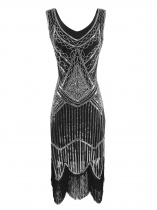 Silver 1920s Style Sleeveless Sequins Fringe Trim Flapper Dresses