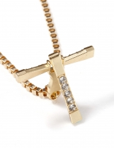 Cross Shape Charm Metal Chain Rhinestones Pendant Necklace